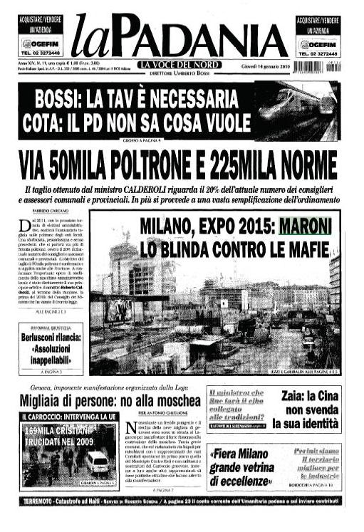 Prima pagina La Padania del 14.01.2010