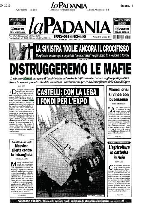 Prima pagina La Padania del 15.01.2010
